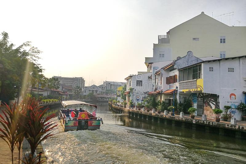 Malacca, Malaysia, April 8, 2018: Malacca city is awarded the UN. ESCO World Heritage City status with rich history. Featured here is Melaka River, popular royalty free stock photography