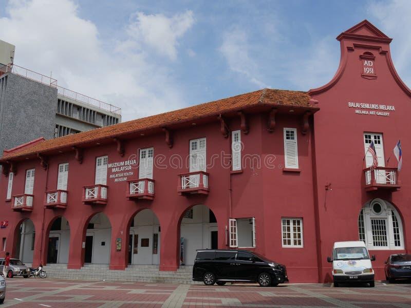 Malacca, Malaysia--February 2018: Close up of the Balai Senlukis Melaka or Melaka Art Gallery at the Dutch Square in Melaka, royalty free stock photos