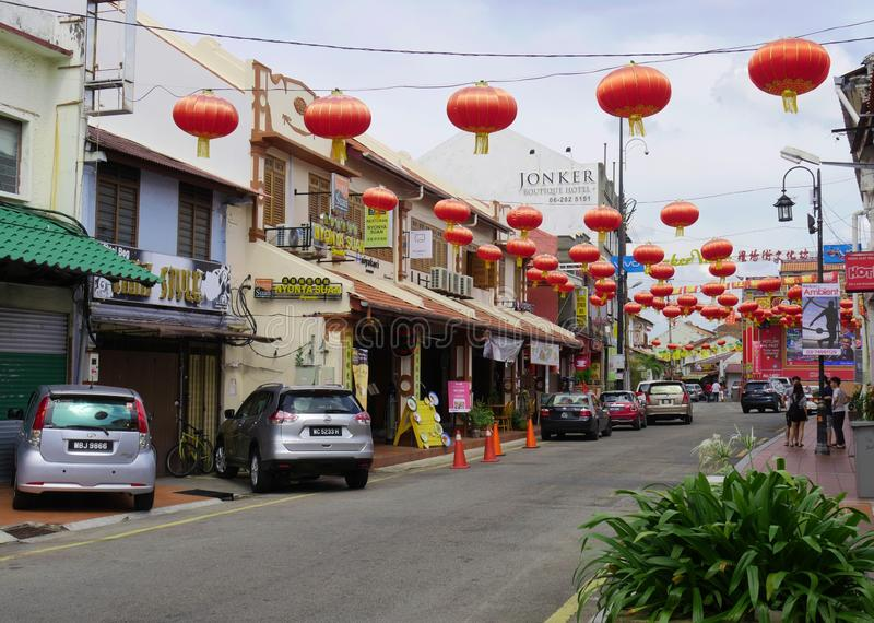 Malacca, Malaysia--February 2018: Jonker Street decorated with red lanterns to celebrate the Chinese New Year.  The Jonker Walk is stock images