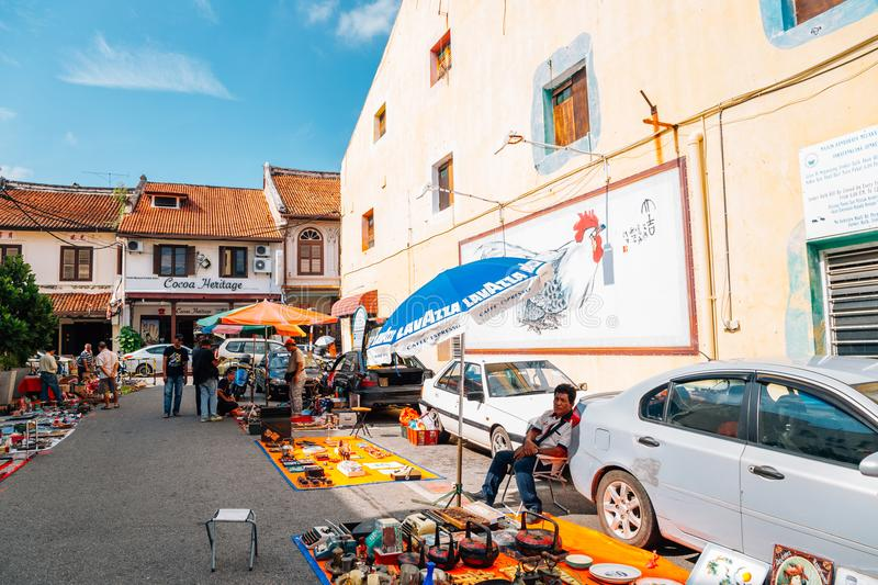 Street market at Jonker Street Malacca old town in Malacca, Malaysia stock images