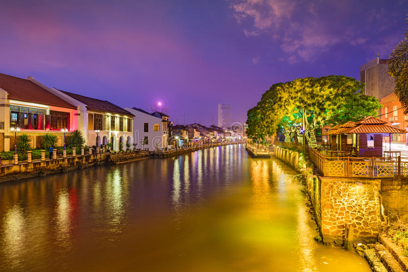 Malacca, Malaysia Skyline. On the Malacca River royalty free stock images