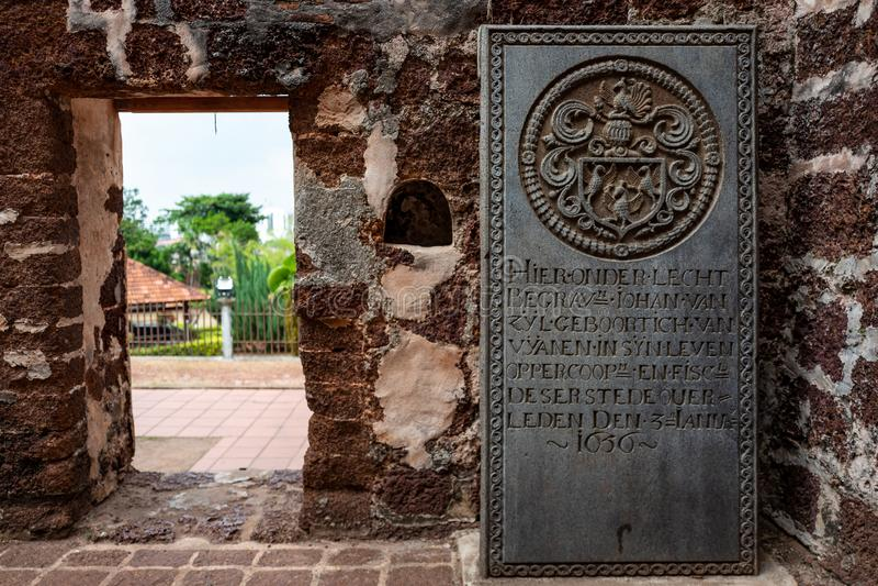 Malacca Malezja, Luty, - 28 2019: Dziejowi nagrobki od poprzedniej portuguese ugody w ruinach St fotografia royalty free