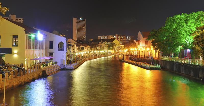 Malacca River at night royalty free stock photography