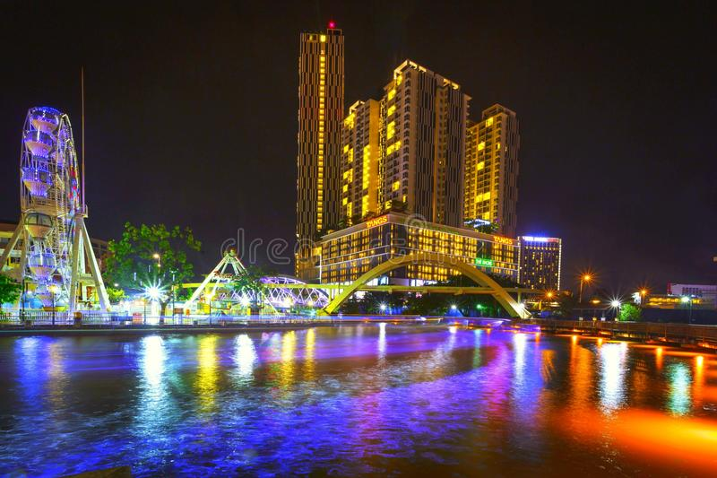 Malacca river at night stock images