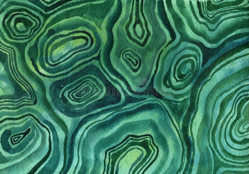 Malachit, akwareli kopaliny tekstura ilustracji