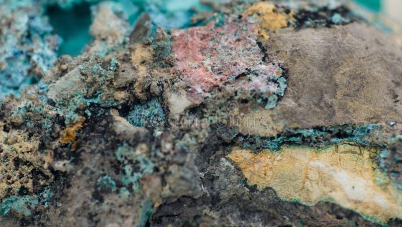 Malachite with azurite. Detailed macro photo of Malachite and Azurite mineral over white stock photos