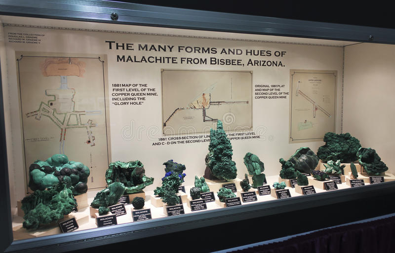 A Malachite Collection at the Tucson Gem and Mineral Show royalty free stock photography