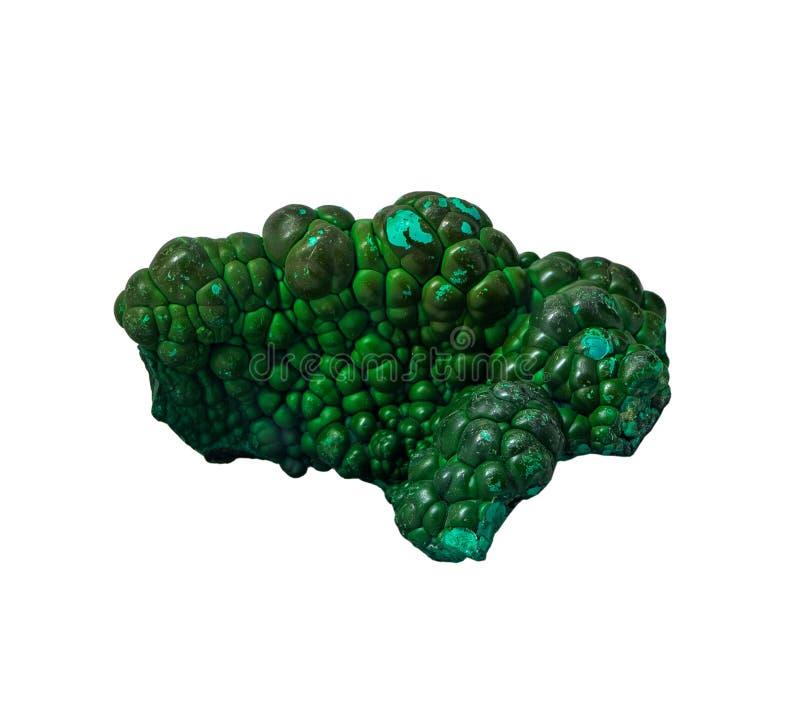 Malachite minerale su un fondo bianco, isolato immagine stock libera da diritti