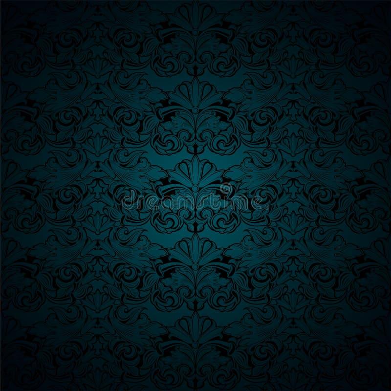 Malachite sombre verte et fond noir de cru, royal avec le mod?le baroque classique, rococo illustration stock