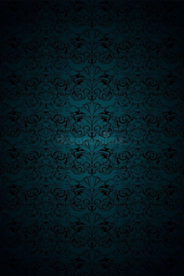 Malachite sombre verte et fond noir de cru, royal avec le mod?le baroque classique, rococo illustration de vecteur