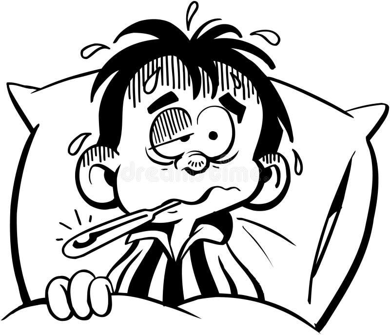 Malade d'enfant dans le vecteur Clipart de bande dessinée de lit illustration de vecteur