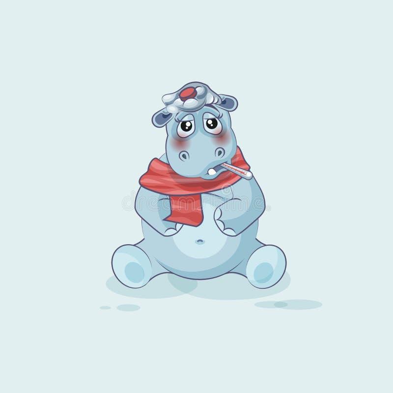 Malade d'hippopotame de bande dessinée de caractère d'Emoji illustration de vecteur