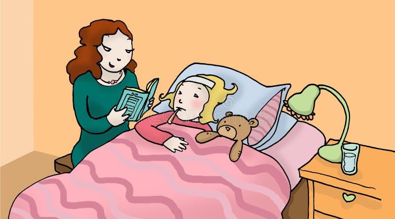 malade de fille illustration libre de droits