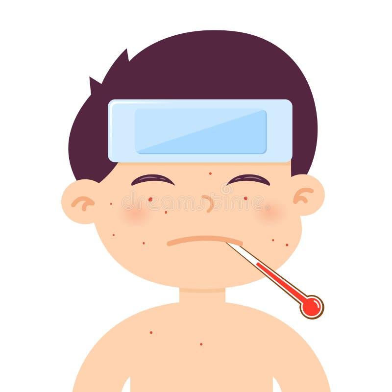 Malade de Little Boy avec la grosse fièvre illustration stock