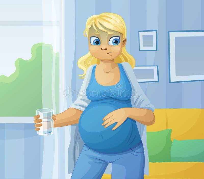 Malade de sensation de femme enceinte illustration libre de droits