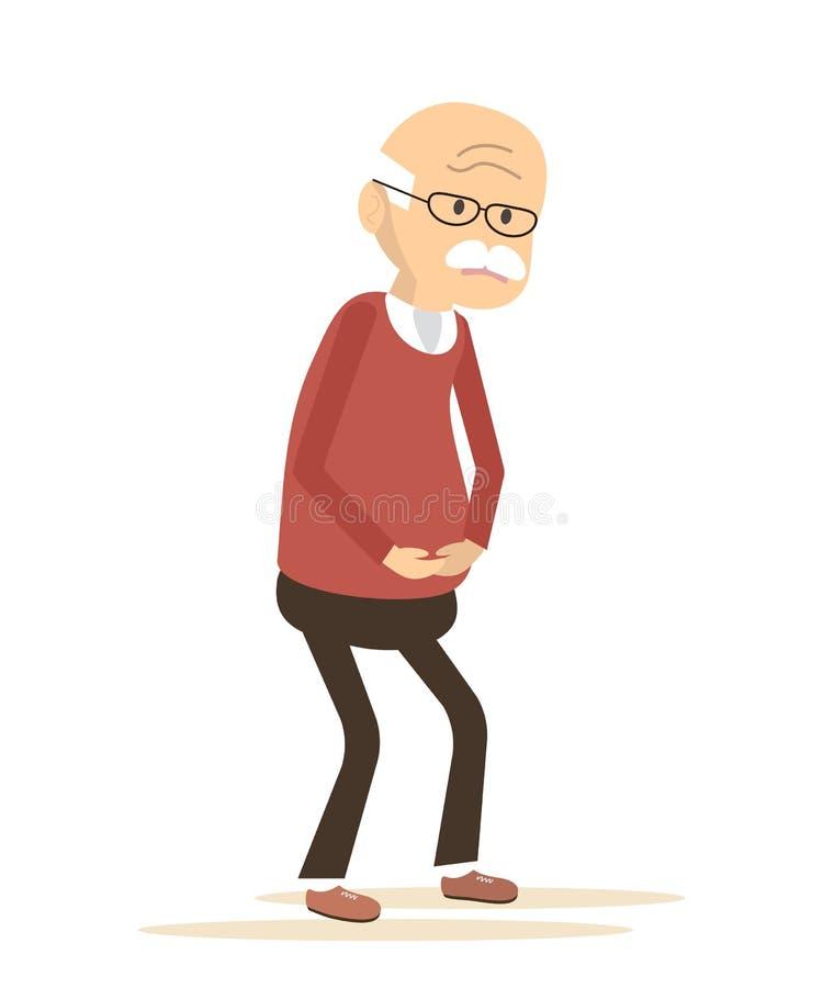 Malade plus âgé d'homme illustration stock
