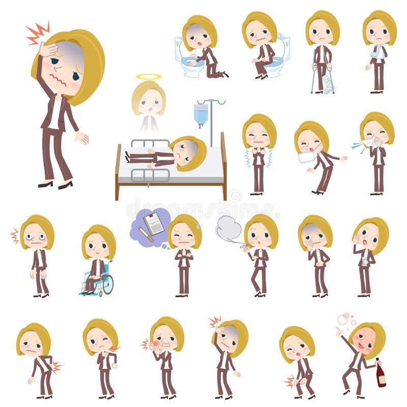 Maladie de blanc de femme de cheveux blonds illustration libre de droits