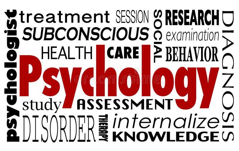 Maladie mentale Disorde de thérapie de traitement de collage de Word de psychologie illustration libre de droits