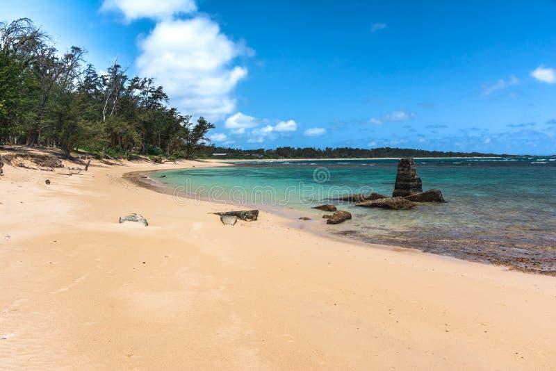 Malaekahana沙滩,奥阿胡岛,夏威夷 库存照片