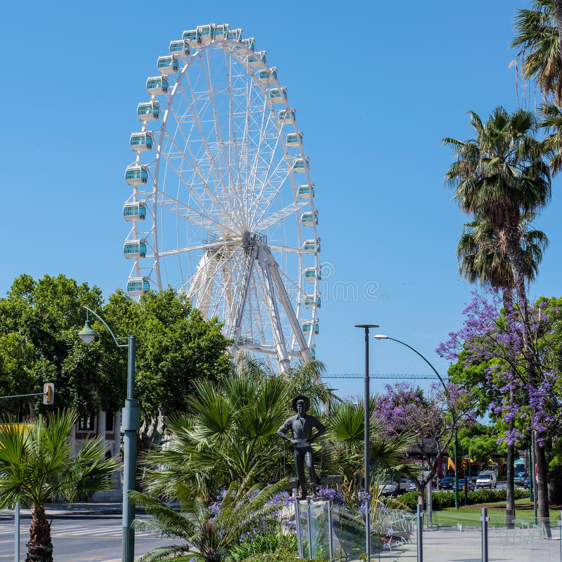 MALAGA, ANDALUCIA/SPAIN - MAY 25 : Giant Ferris Wheel operating. In the City of Malaga Spain on May 25, 2016 royalty free stock images