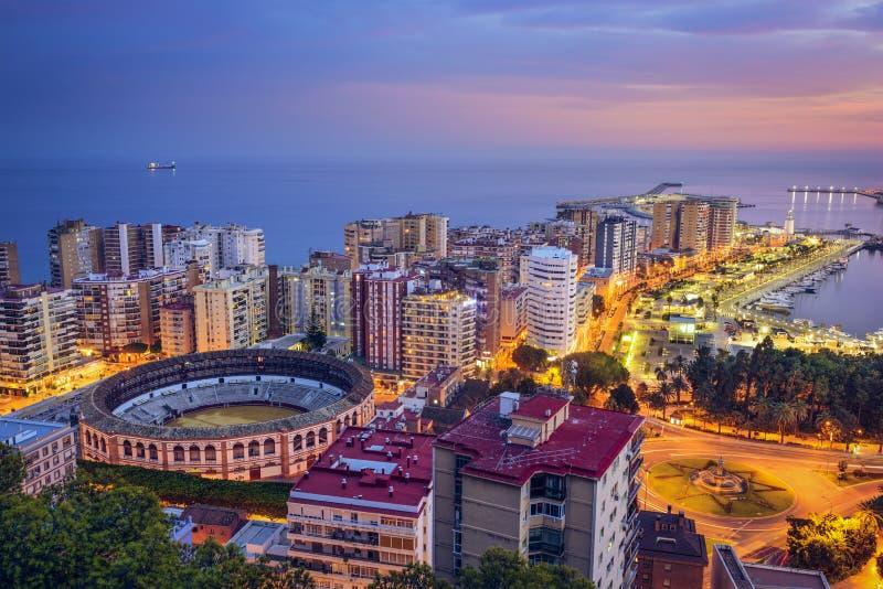 Malaga, arquitetura da cidade da Espanha em foto de stock