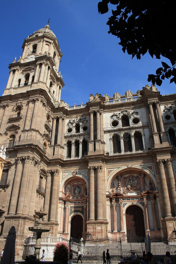 Malaga Cathedral. Exterior of Malaga cathedral with blue sky background, Andalusia, Spain royalty free stock photos