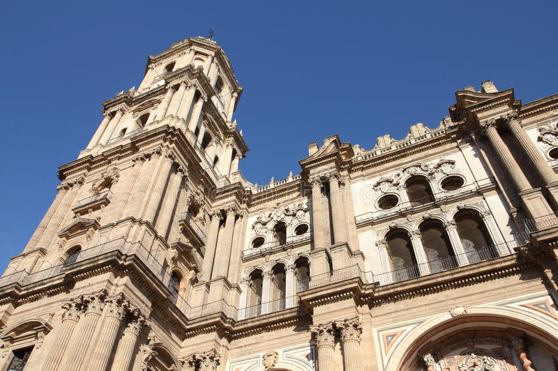 Malaga cathedral. Malaga in Andalusia, Spain. Cathedral church - old religious landmark stock photo