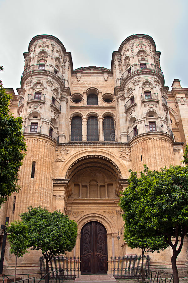 Malaga Cathedral. In Andalucia, Spain royalty free stock images