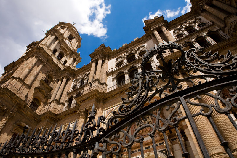 Malaga Cathedral. In Center of City, Andalusia, Spain stock photo