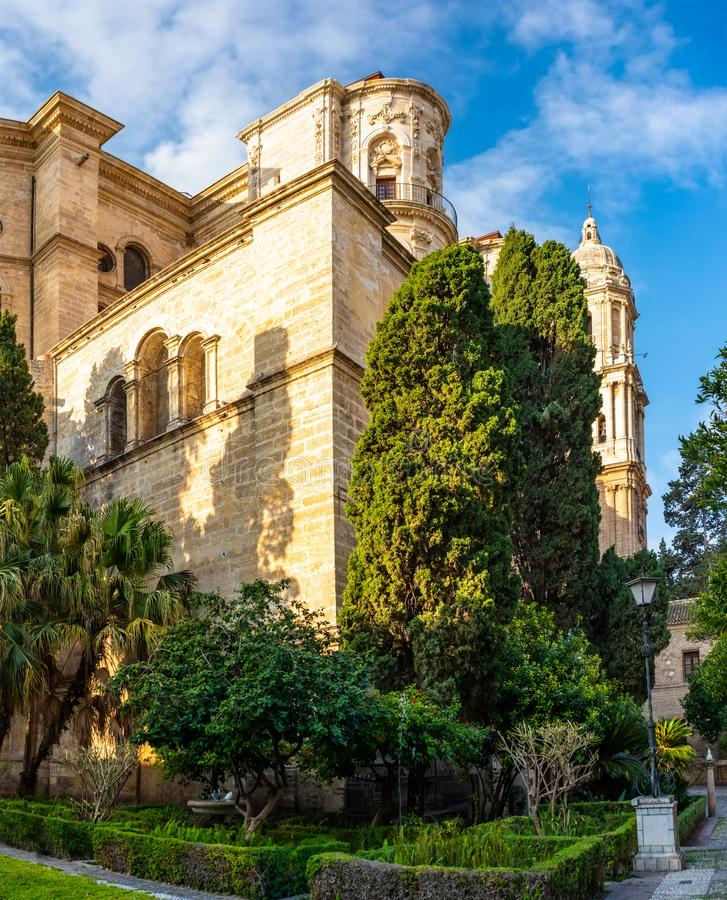 Malaga Cathedral in Andalusia Costa del Sol resort Spain. Malaga Cathedral in Andalusia, Costa del Sol tourist resort Spain stock photography