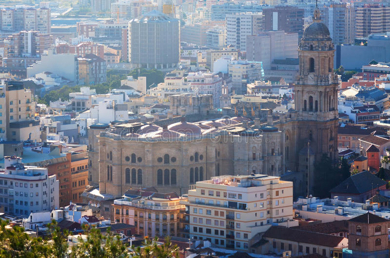 Malaga Cathedral and cityspace. From castle. Spain stock photography