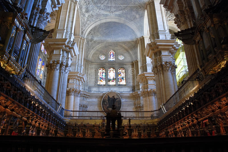 Malaga Cathedral Interior. Detail with organs and shrine royalty free stock photography
