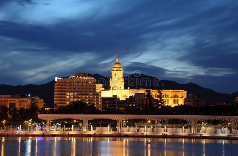 Malaga Cathedral at night. Malaga Cathedral illuminated at night. Andalusia Spain stock images