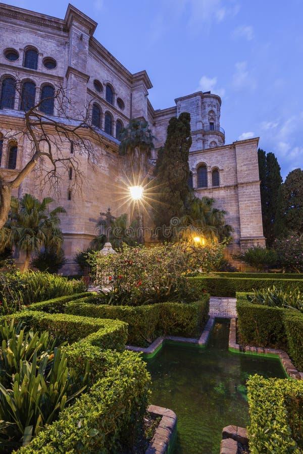 Malaga Cathedral. At night. Malaga, Andalusia, Spain stock photography