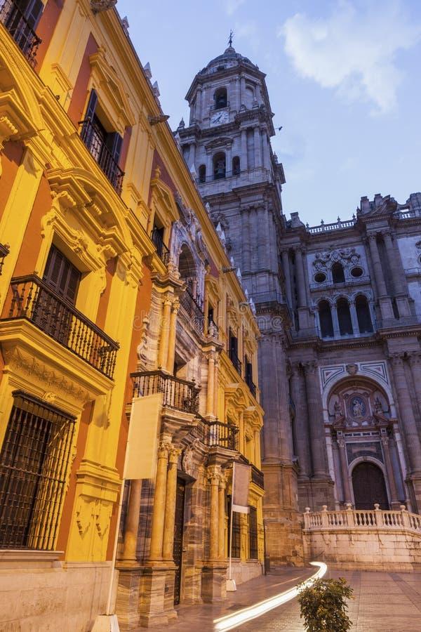 Malaga Cathedral at night. Malaga, Andalusia, Spain royalty free stock photo