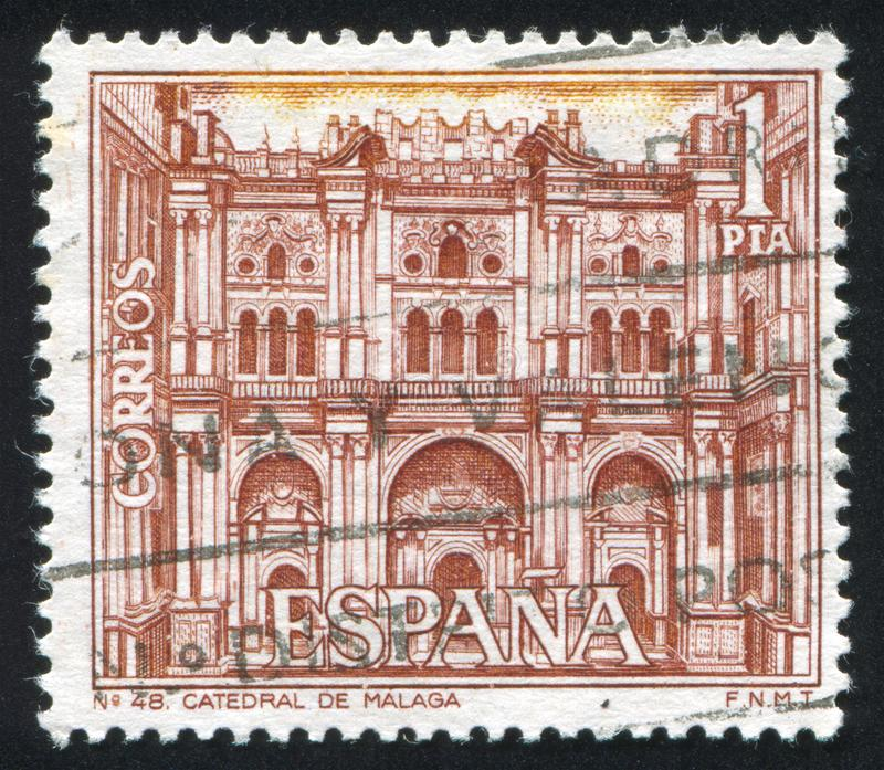 Malaga Cathedral. SPAIN - CIRCA 1970: stamp printed by Spain, shows Malaga Cathedral, circa 1970 royalty free stock images