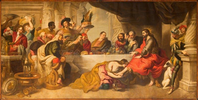 Malaga - a ceia de Jesus por Simon o fariseu na catedral por Miguel Manrique de 17 centavo fotos de stock royalty free