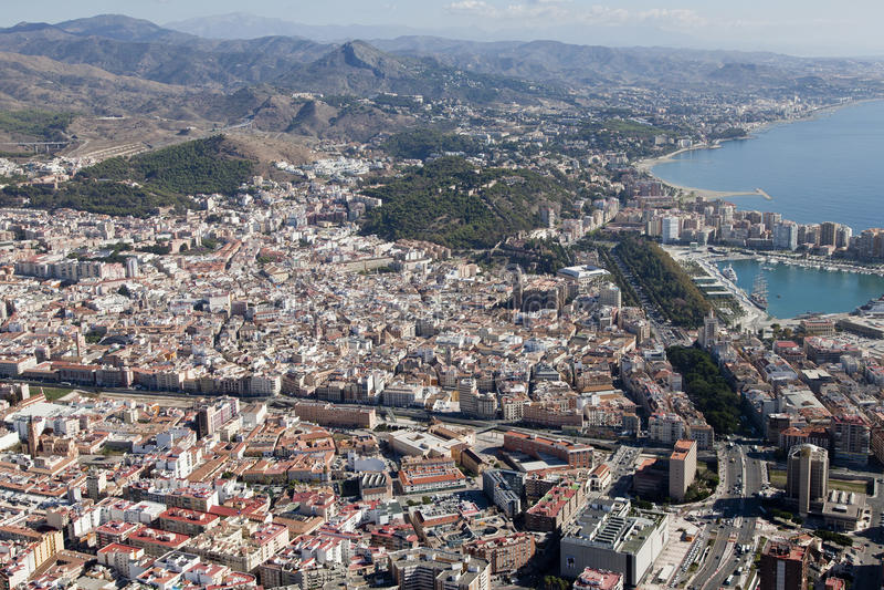 Malaga in città veduta dall'aria. immagini stock