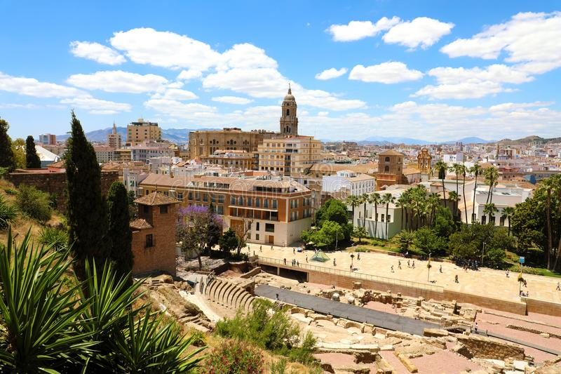 Malaga cityscape with Roman Theater and Cathedral on the background royalty free stock image