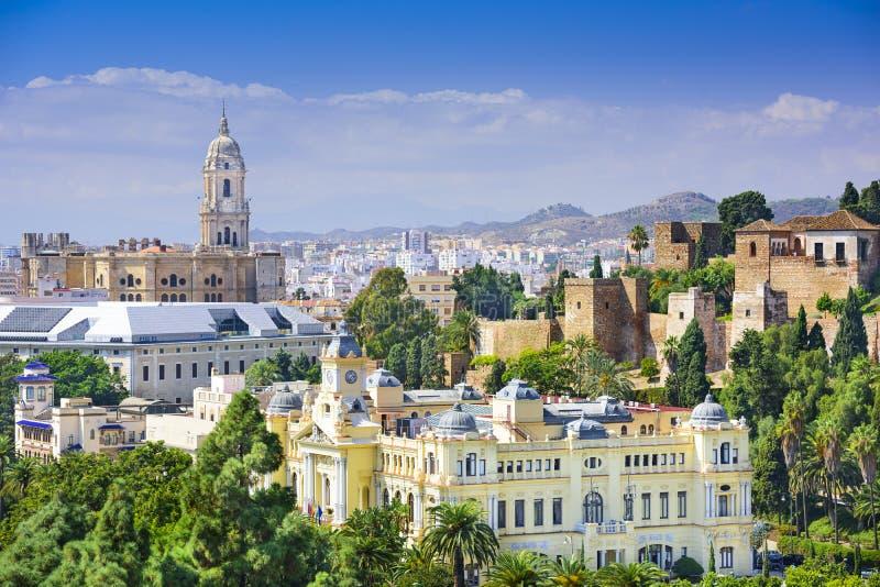 Malaga, Cityscape van Spanje op het Overzees royalty-vrije stock fotografie