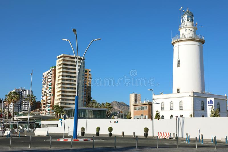 MALAGA, ESPAGNE - 12 JUIN 2018 : phare de Malaga, Espagne photographie stock