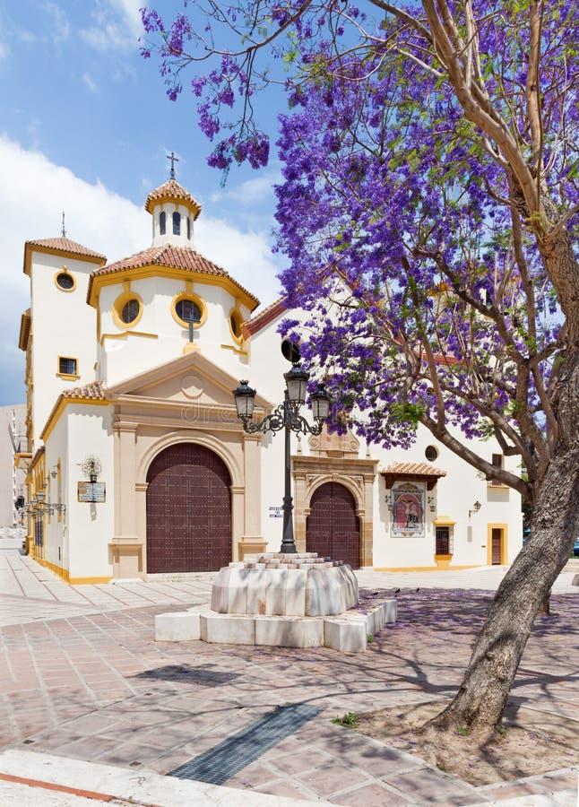 MALAGA, ESPANHA - 25 DE MAIO DE 2015: A igreja de Parroquia de San Pedro St Peters da igreja imagens de stock royalty free