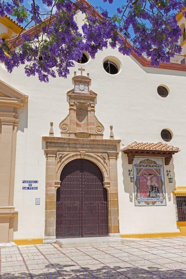 MALAGA, ESPANHA - 25 DE MAIO DE 2015: A igreja de Parroquia de San Pedro St Peters da igreja imagem de stock royalty free