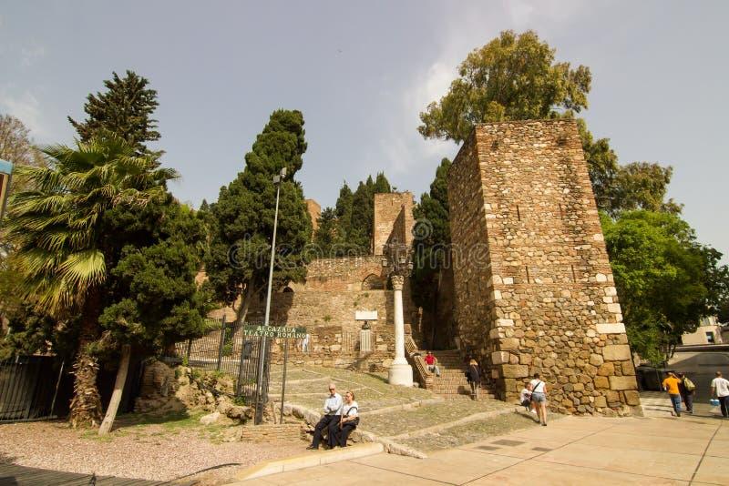 Malaga fästning royaltyfri fotografi