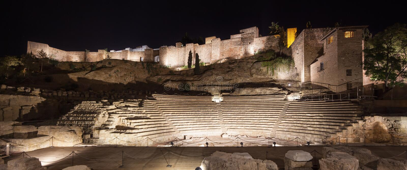 Download Malaga Landmarks On Night. Roman Theater And Alcazaba. Andalusia, Spain Stock Image - Image: 30475583