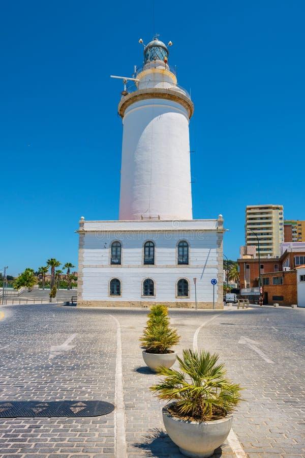Malaga latarnia morska Andalusia, Hiszpania zdjęcia stock