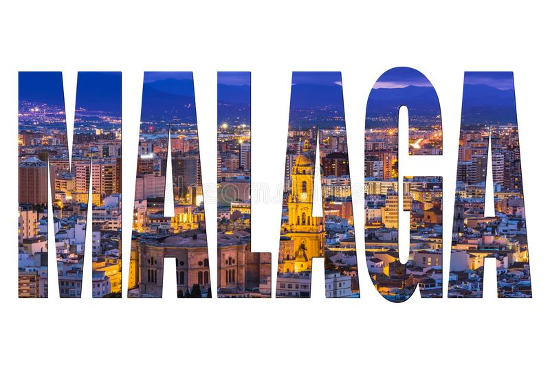 Malaga letters isolated, post card template royalty free stock photography