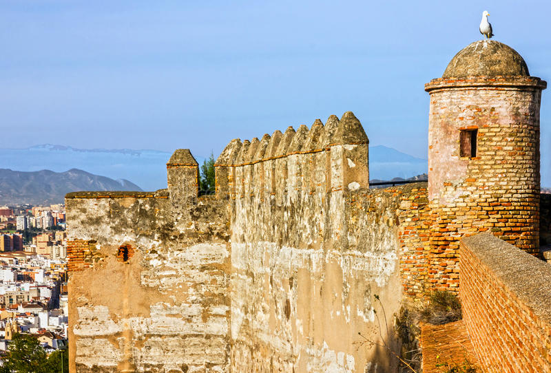 Malaga na Espanha Castelo de Gibralfaro, fortaleza imagem de stock