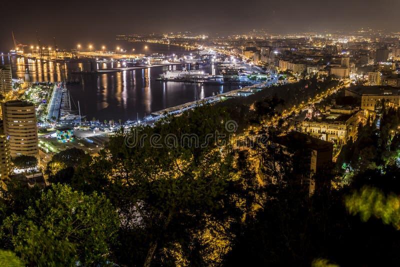 Malaga natt arkivbilder