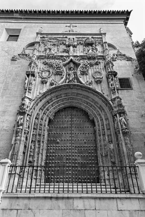 Malaga - o portal gótico da capela lateral da catedral fotos de stock royalty free